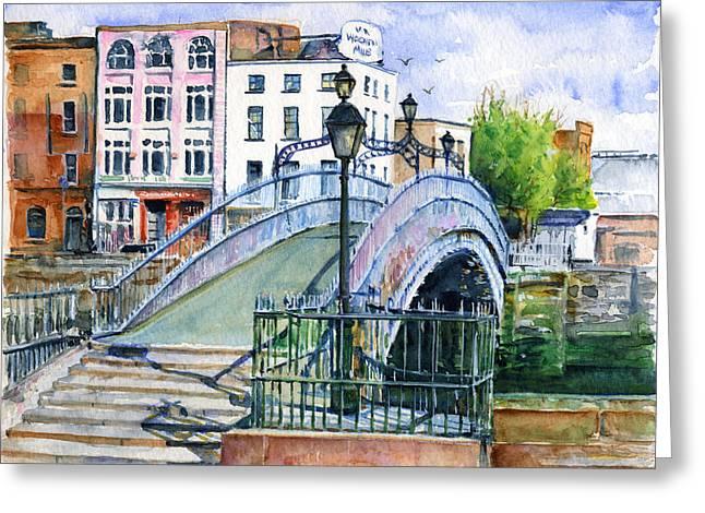 H Greeting Cards - Hapenny Bridge Dublin Greeting Card by John D Benson