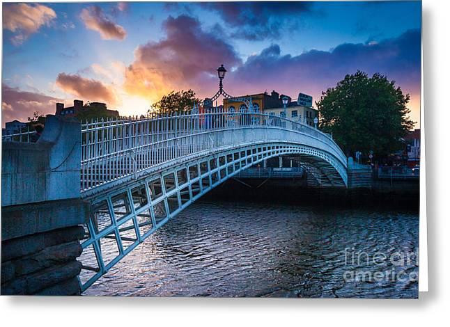 Liffey Greeting Cards - HaPenny Bridge Greeting Card by Inge Johnsson