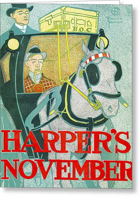 Horse And Buggy Greeting Cards - Hapers November Greeting Card by Edward Penfield