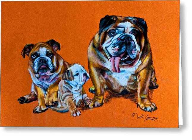 Bulldog Pet Portraits Greeting Cards - Happenings Greeting Card by Mark Courage