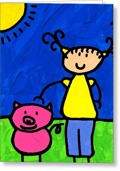 Nursery Mixed Media Greeting Cards - Happi Arte 1 - Girl With Pink Pig Art Greeting Card by Sharon Cummings
