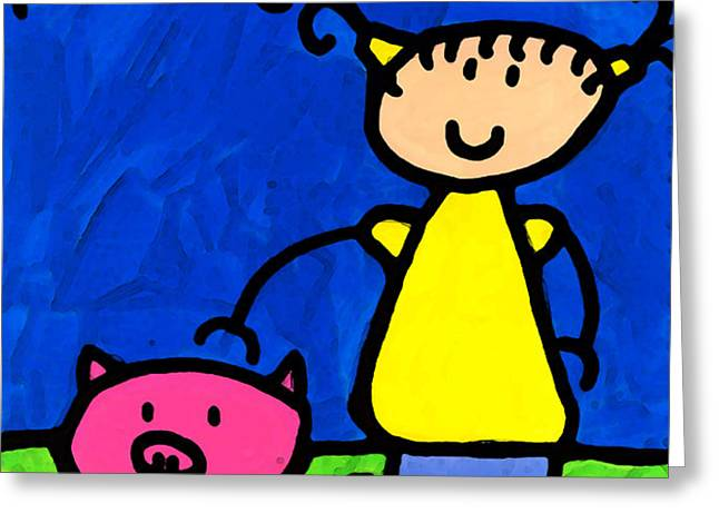 Happi Arte 1 - Girl With Pink Pig Art Greeting Card by Sharon Cummings