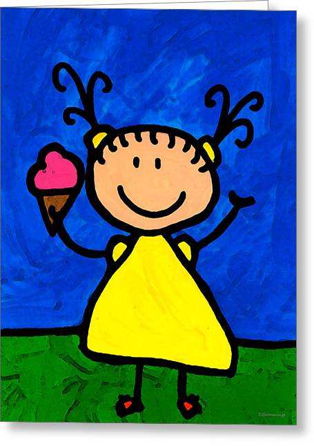 Children Ice Cream Greeting Cards - Happi Arte 3 - Little Girl Ice Cream Cone Art Greeting Card by Sharon Cummings