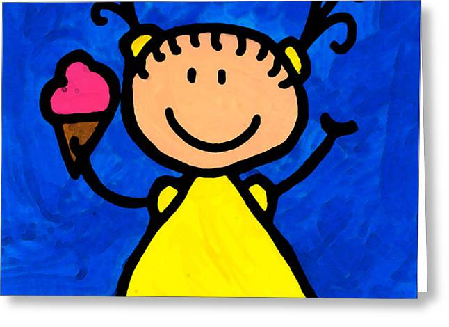 Happi Arte 3 - Little Girl Ice Cream Cone Art Greeting Card by Sharon Cummings