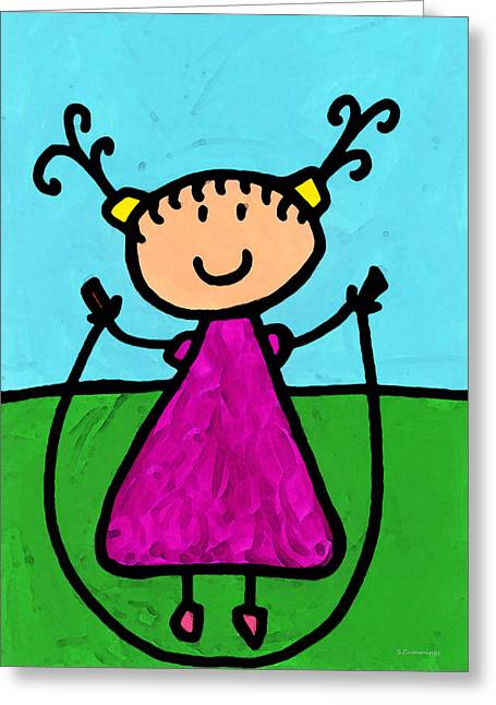 Nursery Mixed Media Greeting Cards - Happi Arte 7 - Girl On Jump Rope Art Greeting Card by Sharon Cummings