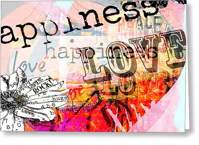 Juvenile Wall Decor Greeting Cards - Happi Love Collage  Greeting Card by Anahi DeCanio
