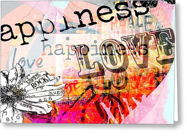 Juvenile Wall Decor Mixed Media Greeting Cards - Happi Love Collage  Greeting Card by Anahi DeCanio - ArtyZen Studios