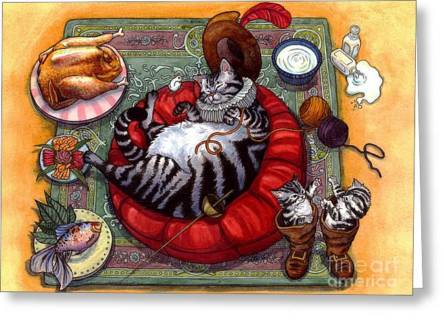 Cute Kitten Mixed Media Greeting Cards - Happily Ever After Greeting Card by Isabella Kung