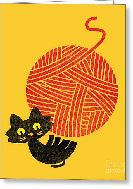 Cute Cat Greeting Cards - Happiness cat and yarn Greeting Card by Budi Kwan