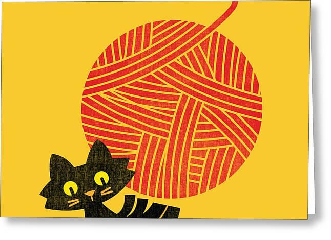 Happiness cat and yarn Greeting Card by Budi Satria Kwan