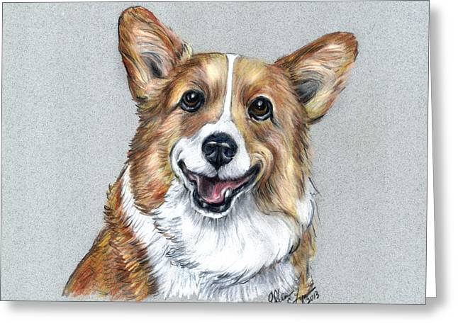 Head Study Pastels Greeting Cards - Happiness Greeting Card by Ellen Lyner