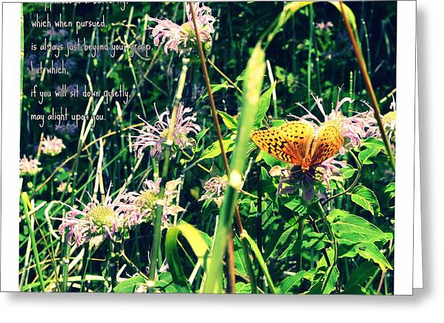 Happiness is a Butterfly Greeting Card by Poetry and Art