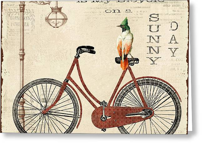 Sea Shell Digital Art Greeting Cards - Happiness is my Bicycle Greeting Card by Jean Plout