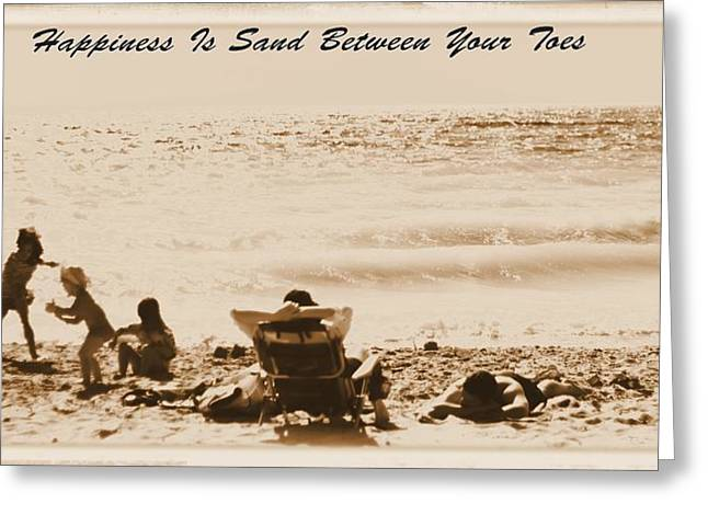 Beach Towel Photographs Greeting Cards - Happiness Is Sand Between Your Toes Greeting Card by Dan Sproul