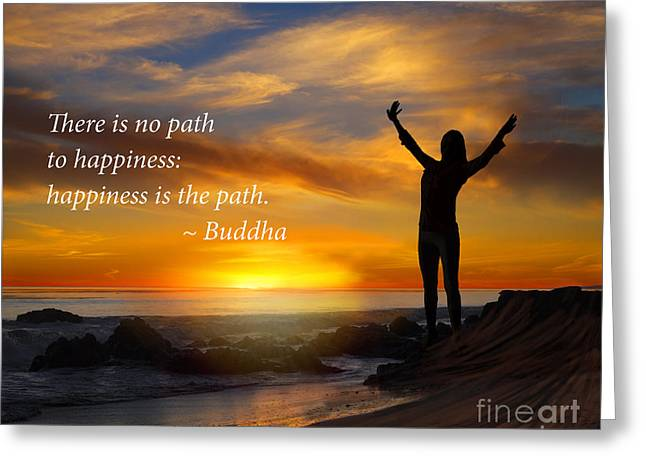 Empower Greeting Cards - Happiness is the path Greeting Card by Stella Levi