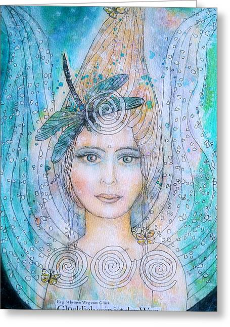 Winged Goddess Mixed Media Greeting Cards - Happiness is the way Greeting Card by Lila Violet