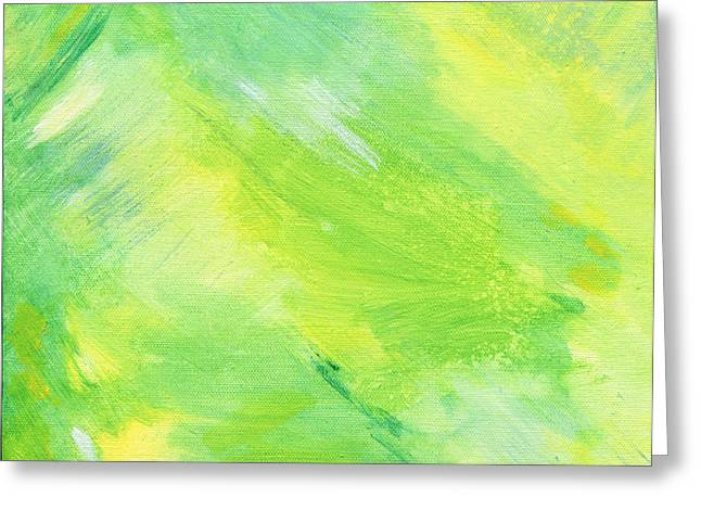 Green And Yellow Abstract Greeting Cards - Happiness Greeting Card by Karyn Robinson