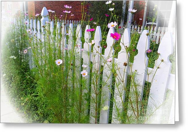 Flowers On A Fence Greeting Cards - Happiness on the Fence Greeting Card by Becky Lupe