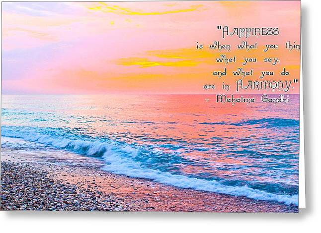 Dodecanese Greeting Cards - Happiness Quote Mahatma Gandhi  Greeting Card by Julia Fine Art And Photography