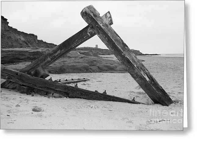 Buildings By The Sea Greeting Cards - Happisburgh Church through driftwood Greeting Card by Sally Lloyd