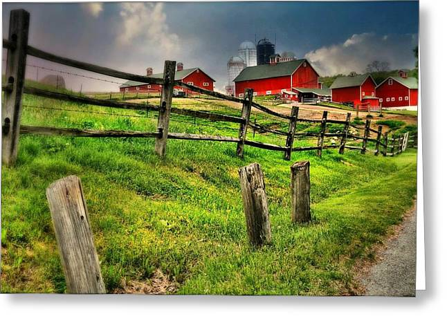 Happy Acres Farm Greeting Cards - Happy Acres Farm Greeting Card by Diana Angstadt