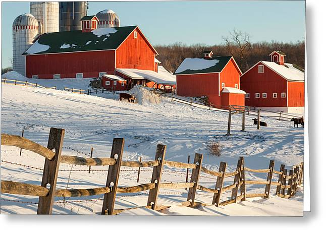 Winter Scenes Rural Scenes Greeting Cards - Happy Acres Farm Square Greeting Card by Bill  Wakeley