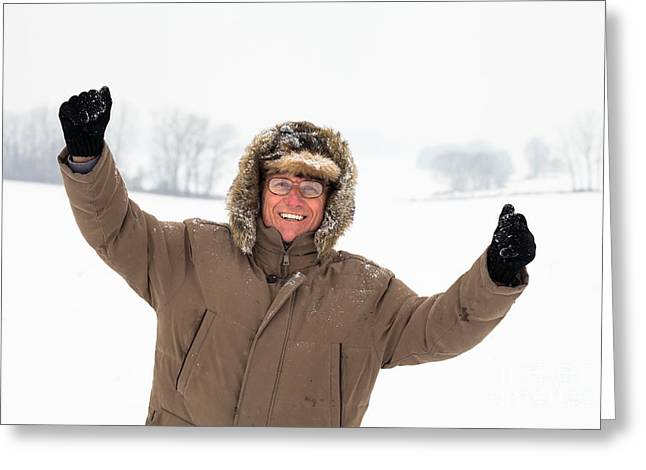 Snow Capped Greeting Cards - Happy active senior man in winter Greeting Card by Jan Mika