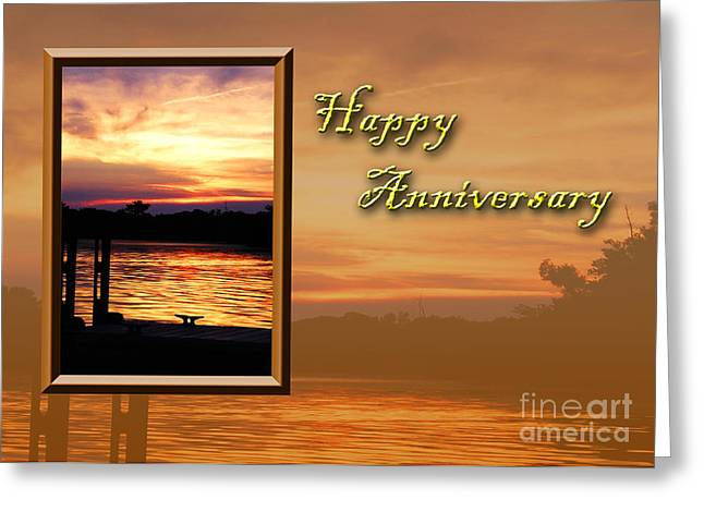 Wildlife Celebration Greeting Cards - Happy Anniversary Pier Greeting Card by Jeanette K