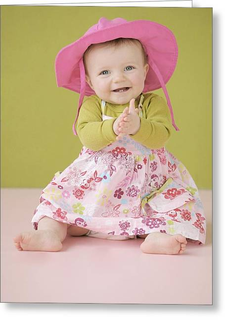 6-12 Months Greeting Cards - Happy Baby Girl In Summer Dress Greeting Card by Colleen Cahill