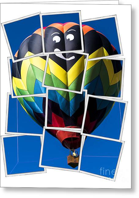 """hot Air Balloon"" Greeting Cards - Happy Balloon Ride Greeting Card by Edward Fielding"