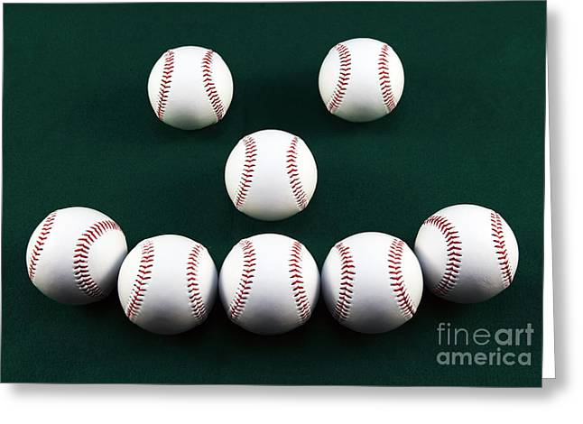 Baseball Photographs Greeting Cards - Happy Balls Greeting Card by John Rizzuto