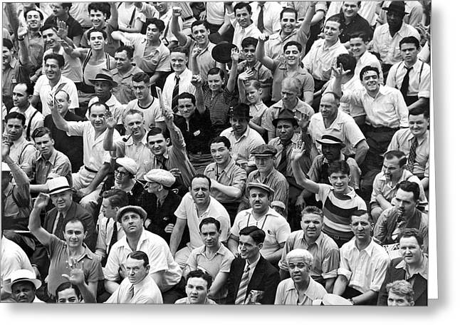 Happy Baseball Fans In The Bleachers At Yankee Stadium. Greeting Card by Underwood Archives
