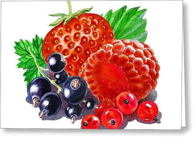 Happy Berry Mix Greeting Card by Irina Sztukowski