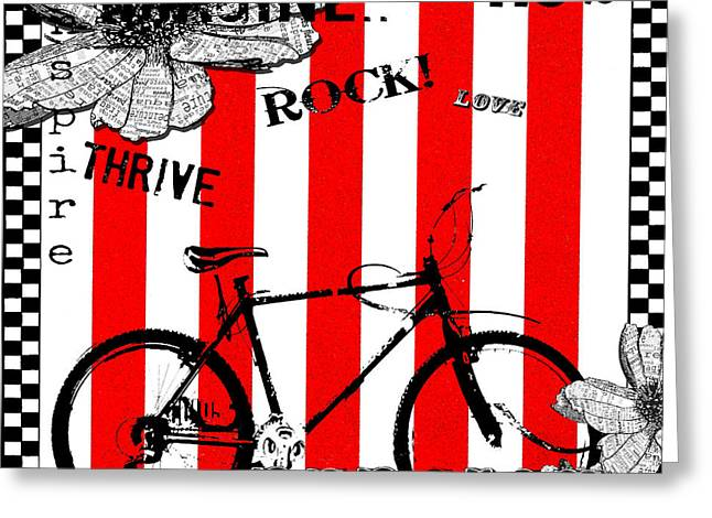 Inspirational Licensing Greeting Cards - Happy Bicycle Art in Red and White Greeting Card by Anahi DeCanio - ArtyZen Studios