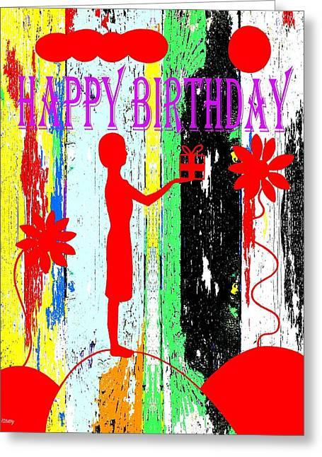 Celebration Art Print Greeting Cards - Happy Birthday 7 Greeting Card by Patrick J Murphy