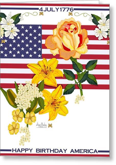 4th July Digital Greeting Cards - Happy Birthday America 2013 Greeting Card by Anne Norskog