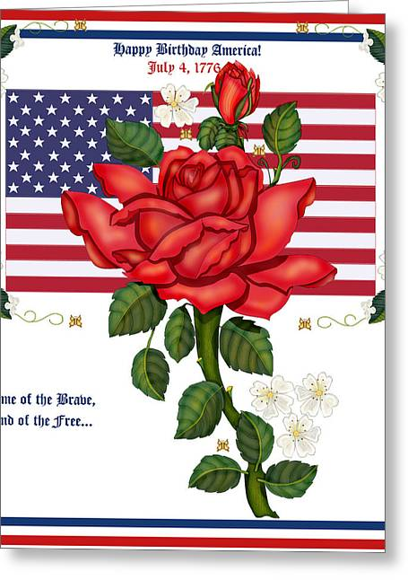 4th July Paintings Greeting Cards - Happy Birthday America Greeting Card by Anne Norskog