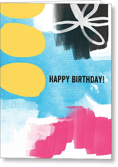 Abstract Greeting Cards Greeting Cards - Happy Birthday- Colorful Abstract Greeting Card Greeting Card by Linda Woods
