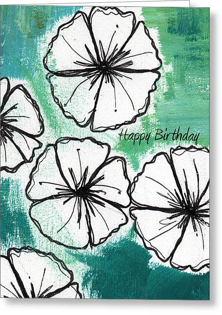 Green And White Greeting Cards - Happy Birthday- Floral Birthday Card Greeting Card by Linda Woods