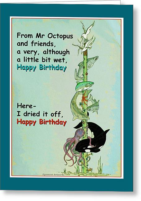 Crab Greeting Cards - Happy Birthday from Mr Octopus Greeting Card by Michael Shone SR