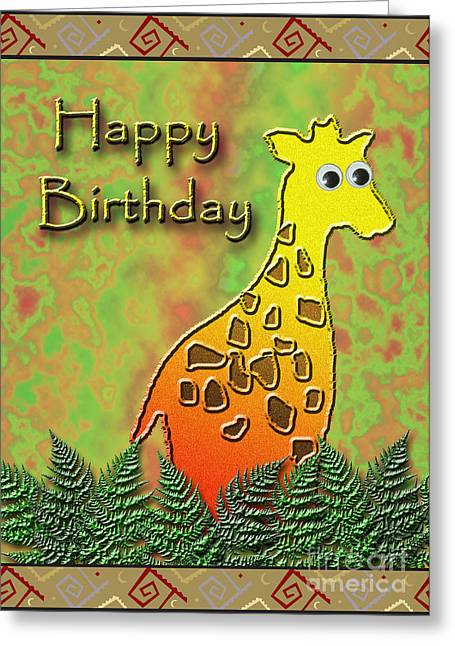 Wildlife Celebration Greeting Cards - Happy Birthday Giraffe Greeting Card by Jeanette K