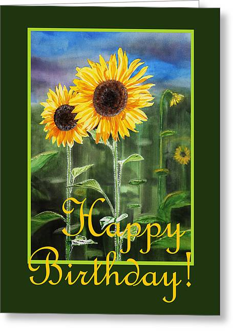 Fine Dining Canvases Greeting Cards - Happy Birthday Happy Sunflowers Couple Greeting Card by Irina Sztukowski