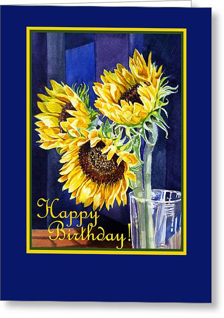 Fine Dining Canvases Greeting Cards - Happy Birthday Happy Sunflowers  Greeting Card by Irina Sztukowski