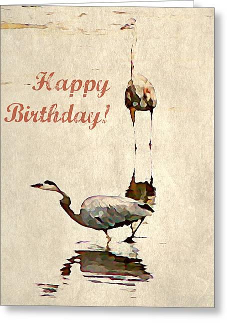 Wildlife Celebration Greeting Cards - Happy Birthday Herons Greeting Card by Brenda Conrad