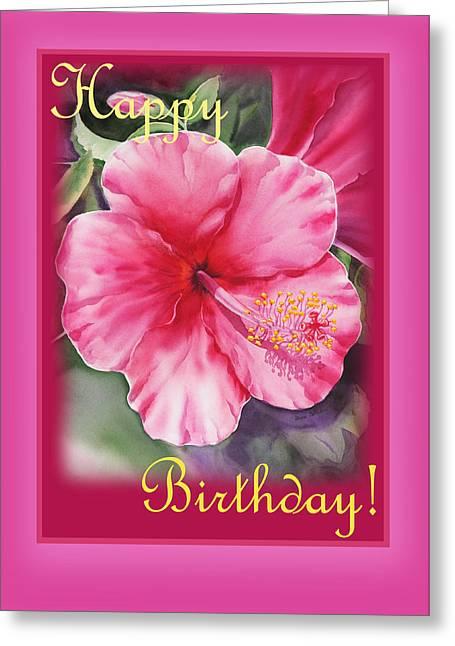 Congratulations Greeting Cards - Happy Birthday Hibiscus  Greeting Card by Irina Sztukowski