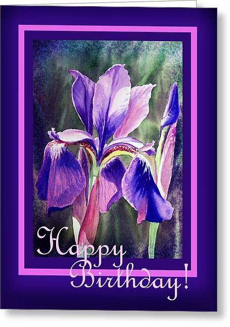 Landscape. Scenic Greeting Cards - Happy Birthday Iris  Greeting Card by Irina Sztukowski