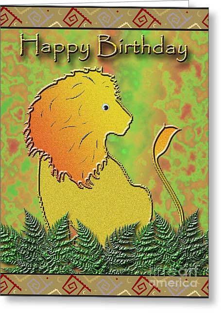 Wildlife Celebration Greeting Cards - Happy Birthday Lion Greeting Card by Jeanette K