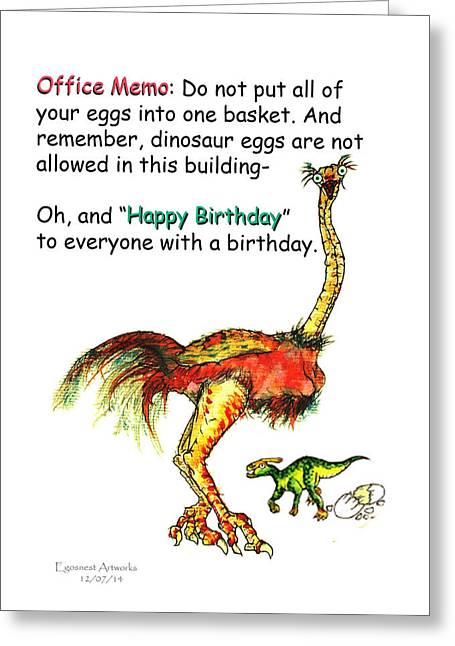Wife Greeting Cards - Happy Birthday Office Memo Greeting Card by Michael Shone SR