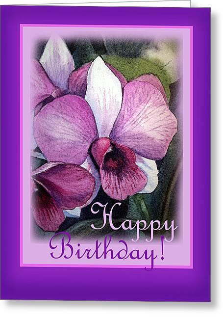 Decor.pink.green Flowers Greeting Cards - Happy Birthday Orchid Design Greeting Card by Irina Sztukowski