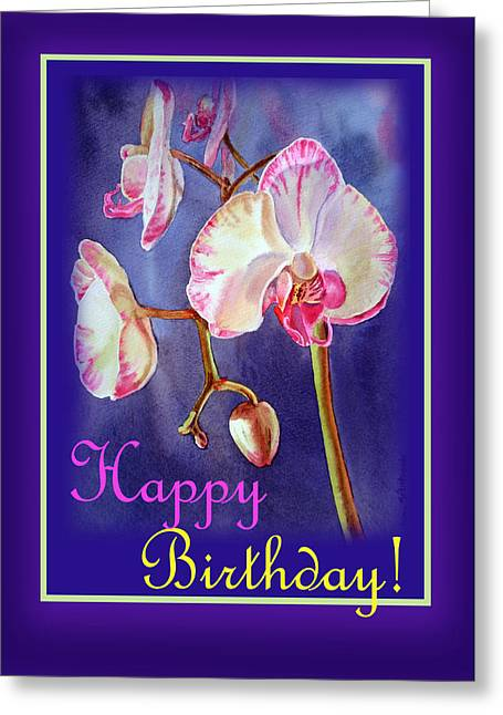Orchids Art Greeting Cards - Happy Birthday Orchid Greeting Card by Irina Sztukowski